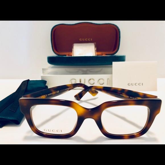 9d7328995ca Gucci Eyeglasses Havana Brown Square Frame New 48